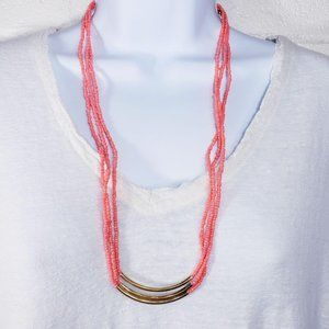Set of Coral & Gold Seed Bead Boho Necklaces